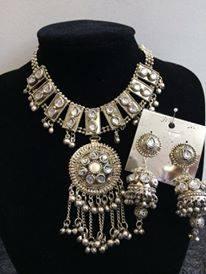 Komplet bizuterii tribal srebrny