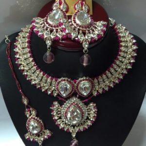 Komplet srebrno czerwony cyrkonie krysztaly