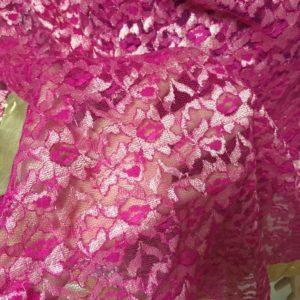 Dupatta duza rozowa ze zlotem