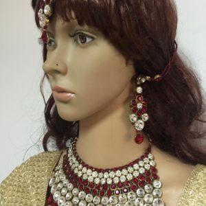 Duzy komplet bizuterii czerwono srebrny