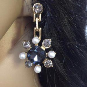 Kolczyki czarny krysztal perelki