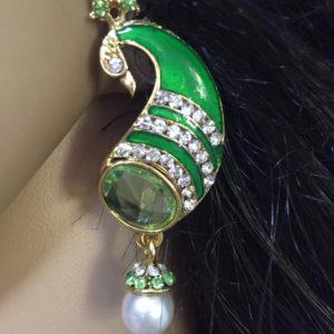 Kolczyki jasno zielone pawie