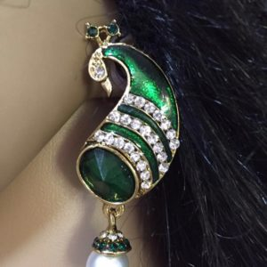 Kolczyki pawie zielone perelka