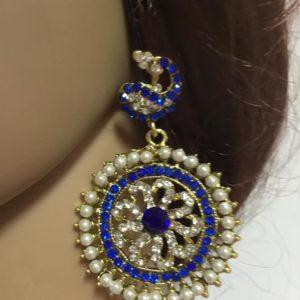Kolczyki pawie zloto niebieskie cyrkonie perelki