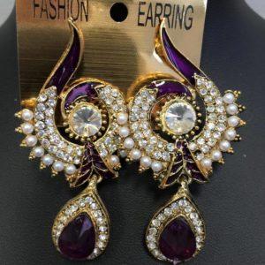 Kolczyki z fioletem cyrkonie perelki