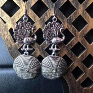Kolczyki srebrne pawie