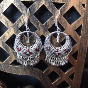 Kolczyki srebrne z odrobina czerwieni