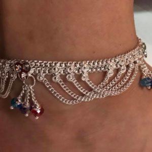 Bransoletka noga srebrna koraliki