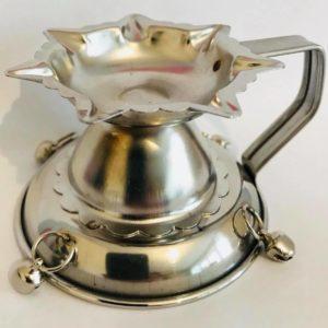 Swiecznik srebrny metalowy
