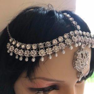Ozdoba na wlosy srebrna cyrkonie perelki