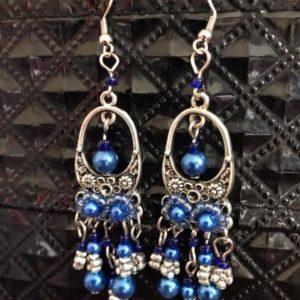 Kolczyki srebrno niebieskie