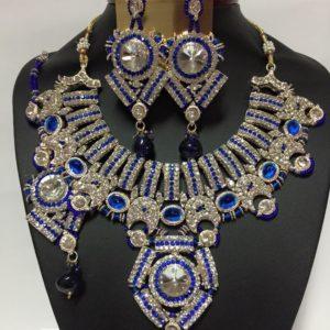 Komplet srebrno niebieski krysztaly