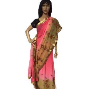 Sari cieniowane rozowo bezowe ze zlotem