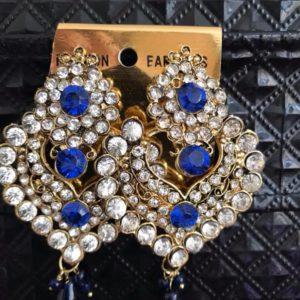 Kolczyki niebieskie srebrne cyrkonie