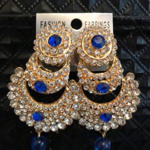 Kolczyki zlote niebieskie i srebrne cyrkonie