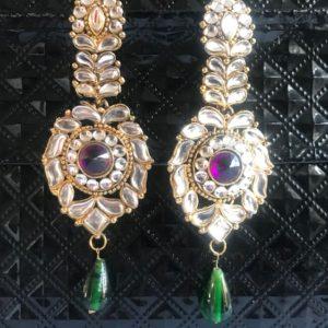 Kolczyki duze zloto fiolet zielen srebro