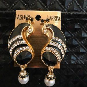 Kolczyki czarne pawie cyrkonie perelki