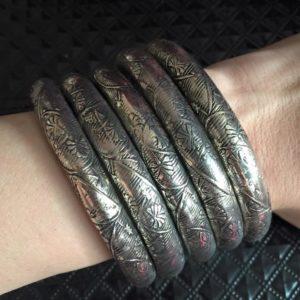 Bransoletka metalowa stare srebro wzory 7 cm