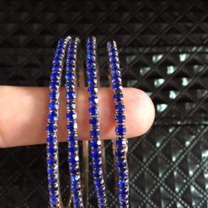 Bransoletki x4 niebieskie cyrkonie -6,3 cm