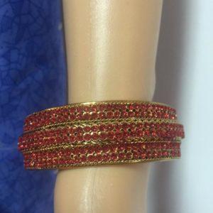 Bransoletka zloto czerwona 6,4 cm
