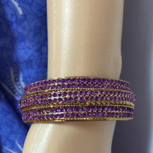 Bransoletka zloto fioletowa 6,4 cm