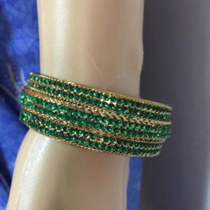 Bransoletka zloto zielona 6,4 cm