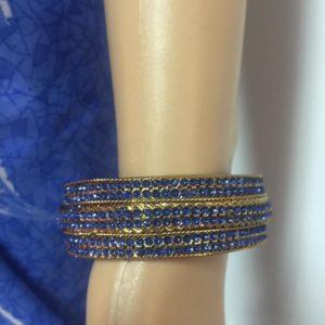 Bransoletka zloto niebieska 6,4 cm