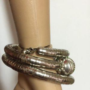 Bransoletka zakrecana srebrna z fioletem