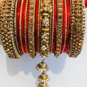Bangle czerwono zlote jhumka cyrkonie 6,3 cm