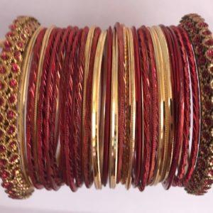 Bangle ciemno czerwono ze zlotem 6,5 cm