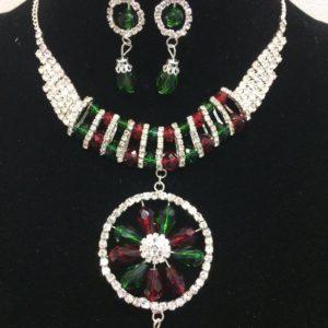 Komplet bizuterii srebrny-zielone czerwone koraliki