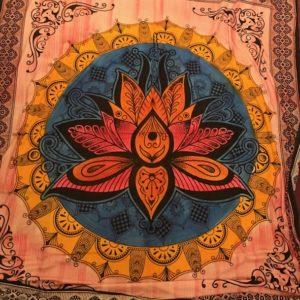Przescieradlo bawelna kwiat lotosu 209×227 cm