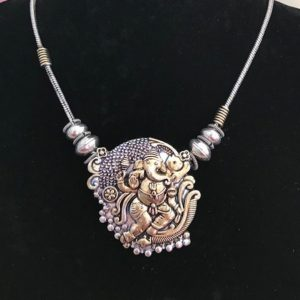 Naszyjnik z Ganeshem zloto srebrny 502