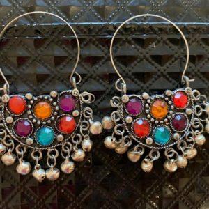 Kolczyki stare srebro tribal dzwonki