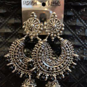 Kolczyki srebrne z czarnym