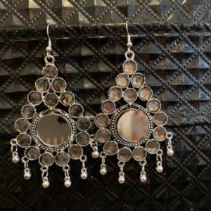 Kolczyki srebrne, lusterka