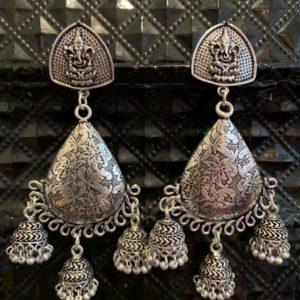 Kolczyki srebrne Ganesh jhumki