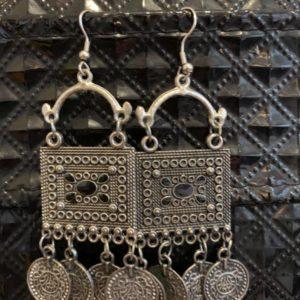 Kolczyki stare srebro z czarnym