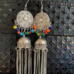 Kolczyki srebrno kolorowe