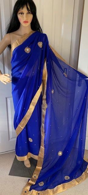 Saree sari chabrowe ze zlotem, lusterka