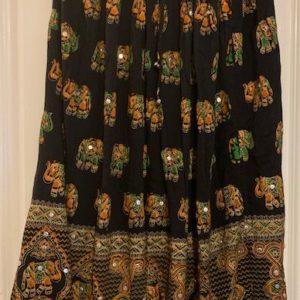 Spodnica czarna kolorowe wzory slonie S/M