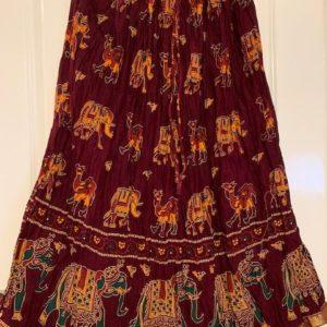 Spodnica bordowa kolorowe wzory