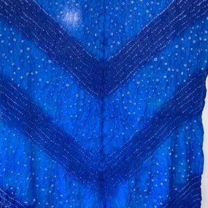Dupatta niebieska z bialym