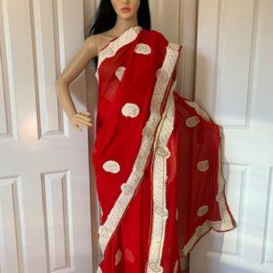 Saree sari czerwone ozdobione 016