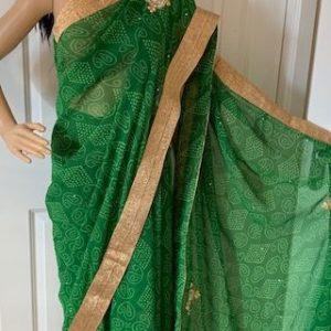 Saree sari zielone ze zlotem, lusterka 001