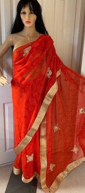 Saree sari czerwone we wzorki