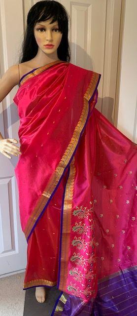 Sari saree rozowe haftowane