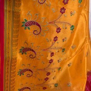Sari saree zolte haftowane
