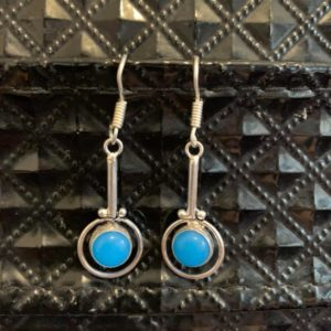 Kolczyki srebrne z niebieskim oczkiem