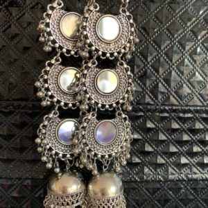 Kolczyki srebrne z lusterkami i wisiorkami dluuugie